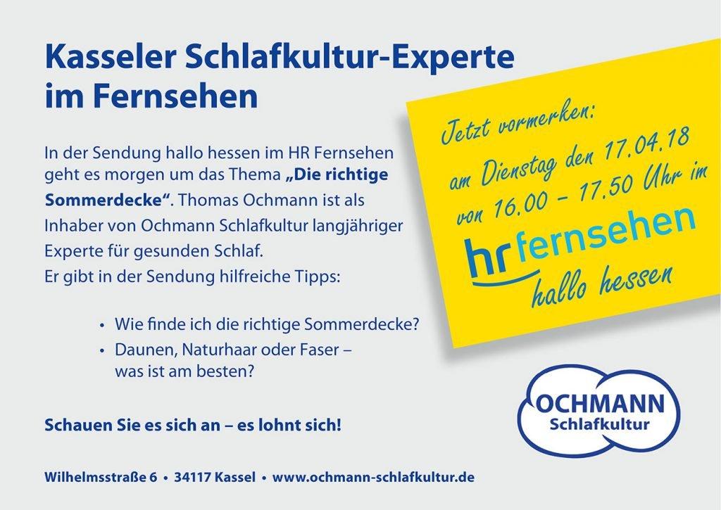 Kasseler Schlafkultur-Experte im Fernsehen